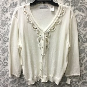 Alfred Dunner white beaded & sequined cardigan